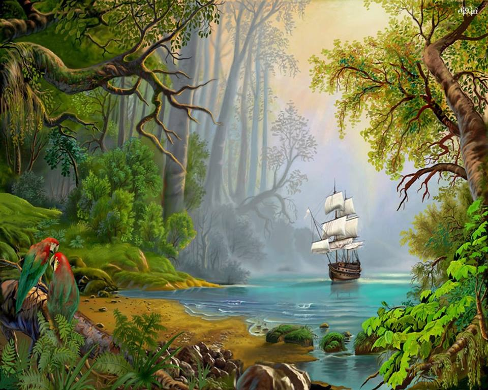 sailing ship in the tropics